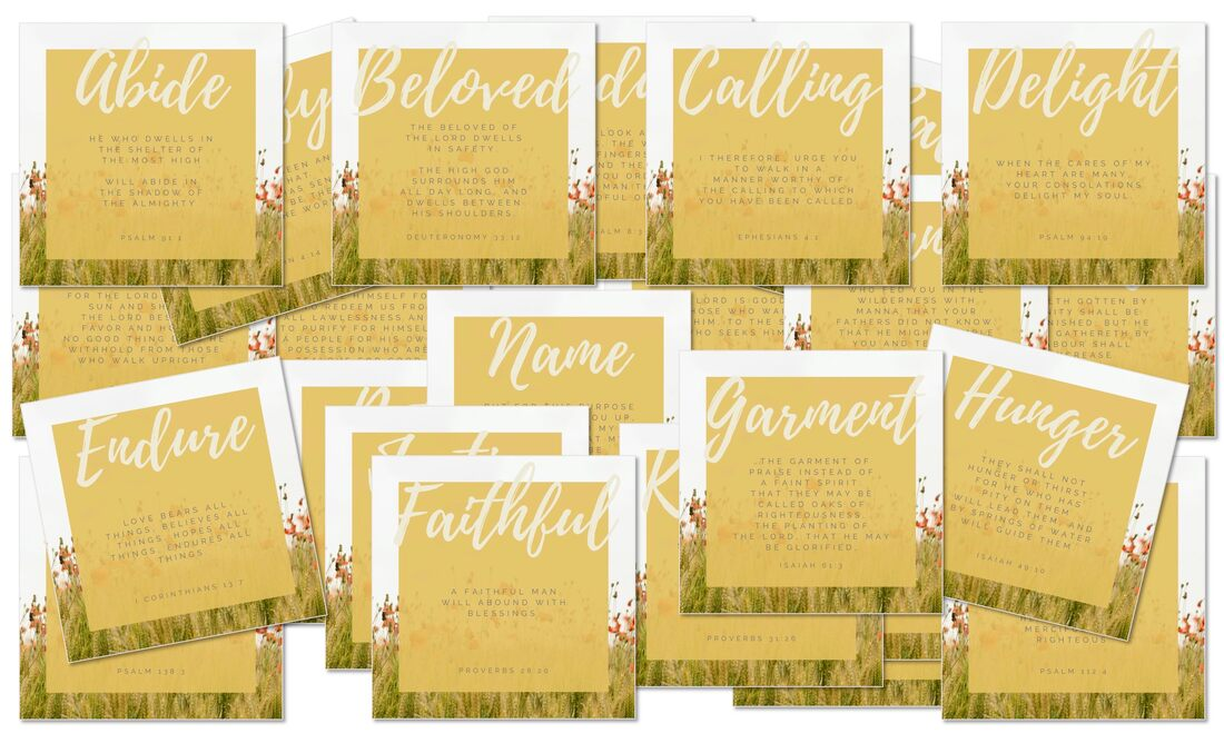 The ABCs of God's Love Letter Scripture Memory cards layout